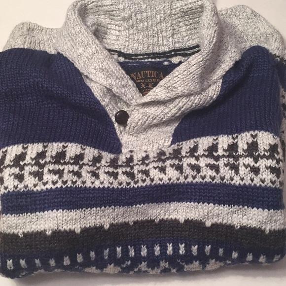 Nautica - Nautica men's XL fair isle sweater shawl collar from ...
